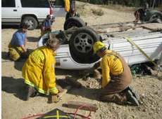 Search and Rescue team perform an extrication
